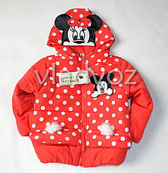 Детская демисезонная утепленная куртка для девочек микки красная 3-4 года