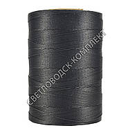 Нитка вощёная силиконом, полиэстер, круглая нить, Текс 280#, 500 м, цв.чёрный