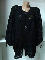 Кардиган черный женский вязаный большой размер, фото 1