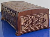 Деревянная шкатулка с узором - подарок женщине (235х155х95)
