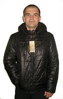 Модная мужская осенняя куртка с капюшоном черного цвета