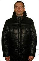 Стильная мужская зимняя куртка с капюшоном черного цвета