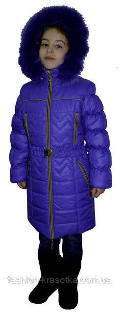 Яркий детский зимний пуховик с мехом