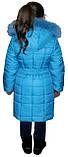 Стильный зимний пуховик для девочки голубого цвета, фото 2
