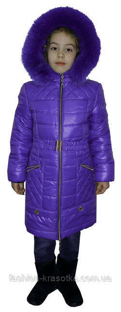 Модный зимний пуховик для девочки с мехом