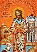 Икона из янтаря Преподобный Алексий, человек Божий