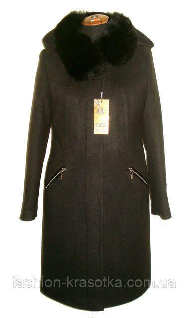 Модное женское зимнее пальто с мехом