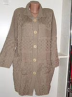 Кардиган женский вязанныйбежевого цвета большой размер, фото 1