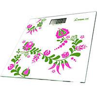 Весы электронные на стеклянной платформе , дизайн - Цветы, Momert 5870-1