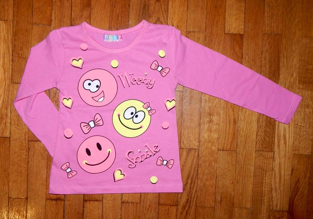 394f19a03f0a Детский реглан для девочки Смайлик розовый 7-8 лет  купить, заказать ...