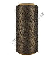 Нитка вощёная, полиэстер,круглая нить, 100 м, Текс №375, цв. темн. коричневий