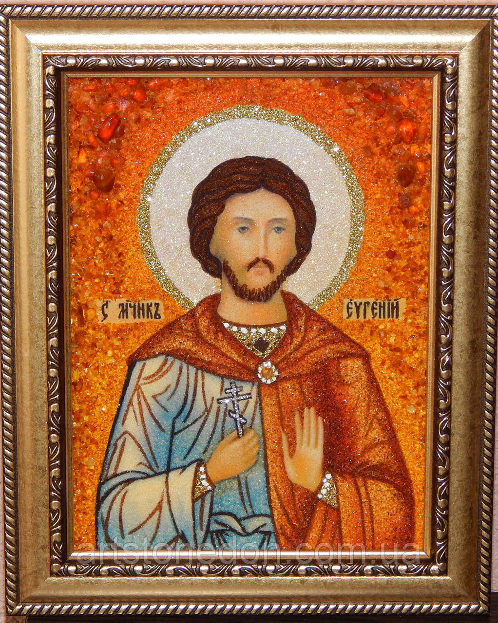 Икона из янтаря Святой Евгений