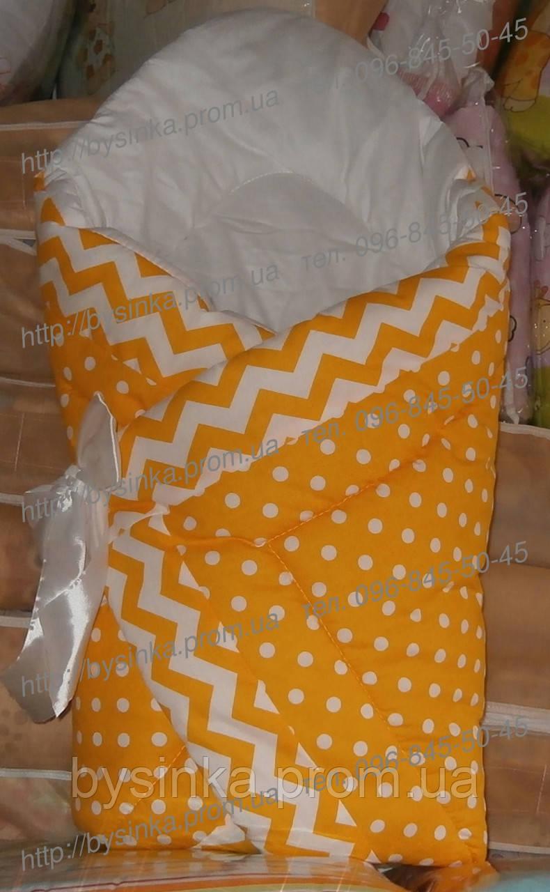 Конверт зимний-одеяло на выписку новорожденного, на липучке с красивым бантом (зимний), 90х90