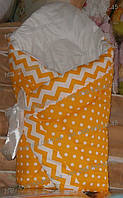 Конверт зимний-одеяло на выписку новорожденного, на липучке с красивым бантом (зимний), 90х90, фото 1