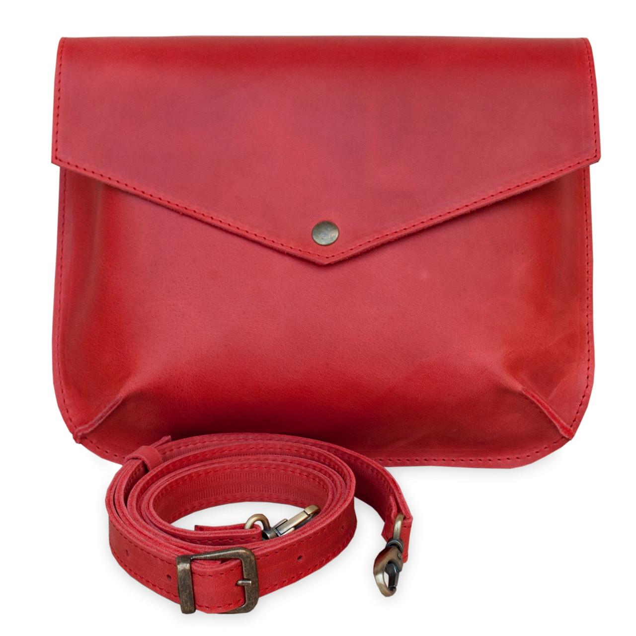 Flapbag mini red, клатч на кнопке, красный