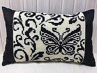 Декоративная подушка ручной работы Чёрно-белые бабочки