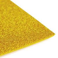 Фоамиран 2 мм с глиттером 20х30 см Золото самоклейка