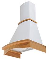 Pyramida  Rustico R 60 white/U (600 мм.) кухонная вытяжка , белый корпус / массив дуба не окрашенный, фото 1