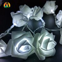 Светодиодная гирлянда Белые Розы 2м 20LED на батарейках АА, фото 1