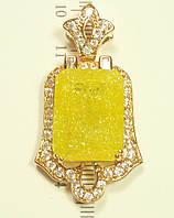 """Кулон ХР Позолота 18К """"Крупный Желтый Кристалл с Блестками (Эффект Битого Стекла) в Декоративной Оправе"""""""
