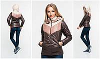 Женская куртка ткань плащевка на синтепоне коричневая