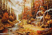 Картина из янтаря Рыбалка на горном озере