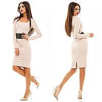 Женское стильное платье с кожаным поясом 067 / бежевое