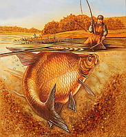 Картина из янтаря Рыбалка