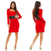 Женское стильное платье с кожаным поясом 067 / красное