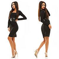 Женское стильное платье с кожаным поясом 067 / черное