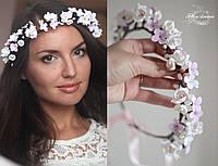 """""""Соцветие"""" свадебный веночек с цветами из полимерной глины, фото 1"""