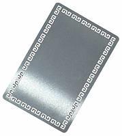 Визитка металлическая для сублимации (серебро греческий орнамент) 0.32 мм