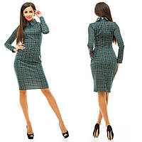 Женское стильное платье клетка ткань турецкий трикотаж цвет зеленый