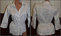 Рубашка Atmosphere  женская б/у с длинным рукавом на поясе размер М (48)