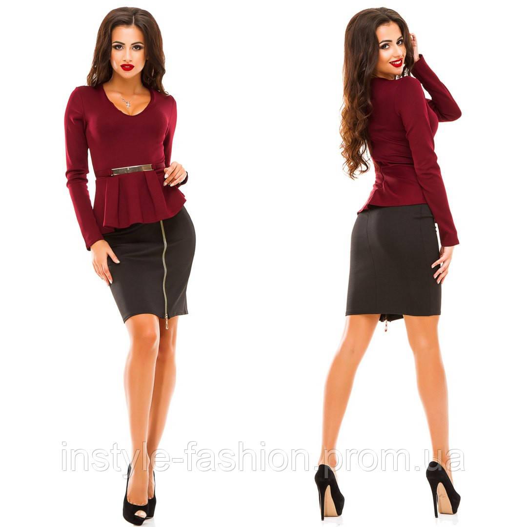 Женское стильное платье баска ткань дайвинг бордовое с черным