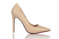 Туфли женские на каблуке Loren Leather Pumps, туфли лорен бежевые