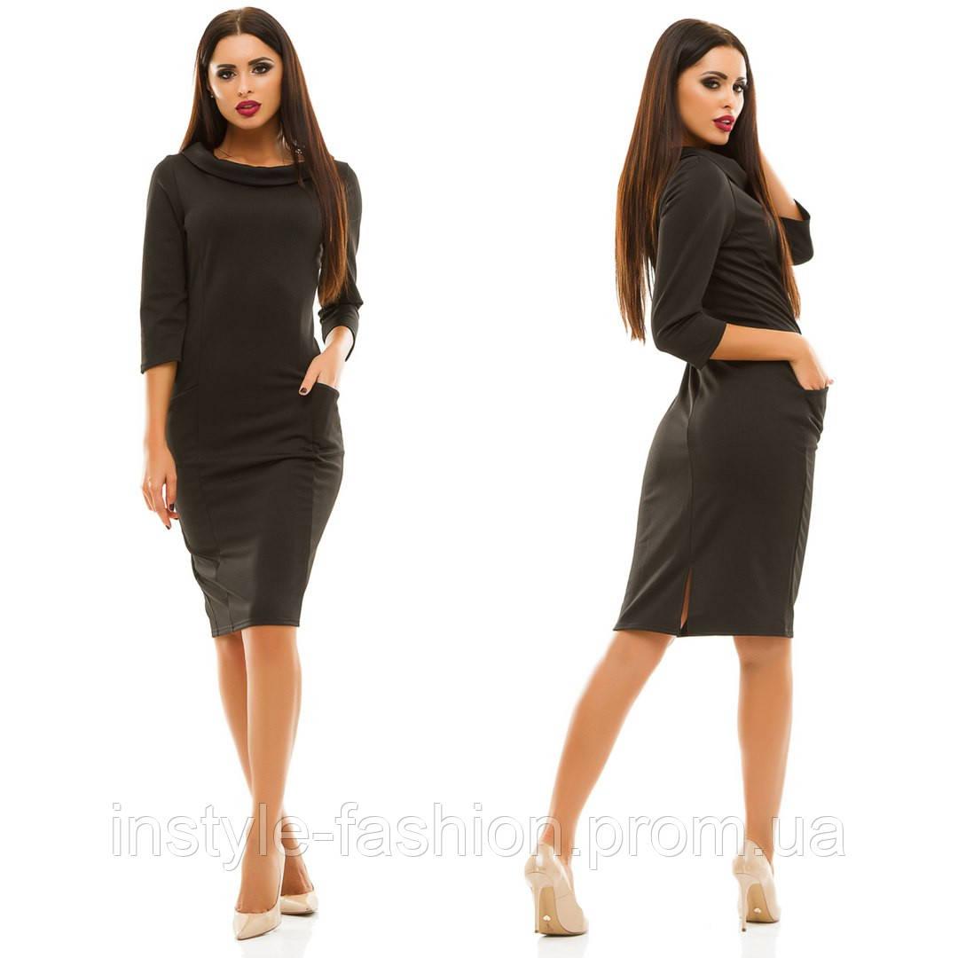 99af8dc3db46 Женское облегающее платье ткань креп-дайвинг черное  купить недорого ...