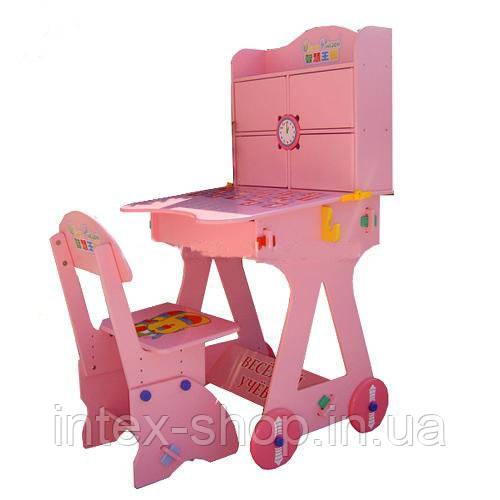 Детская парта BAMBI W 125 розовая, на колесиках, часы