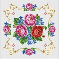 """Заготовка подушки под вышивку нитками """"Розы на белом"""""""