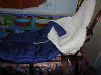 Меховый конверт для санок бордовые-синие(INTEX-DOM) КИЕВ