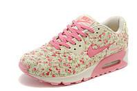 Женские кроссовки Nike Air Max 90 Бежевые с цветами, фото 1