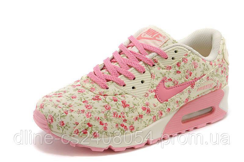 Женские кроссовки Nike Air Max 90 Бежевые с цветами
