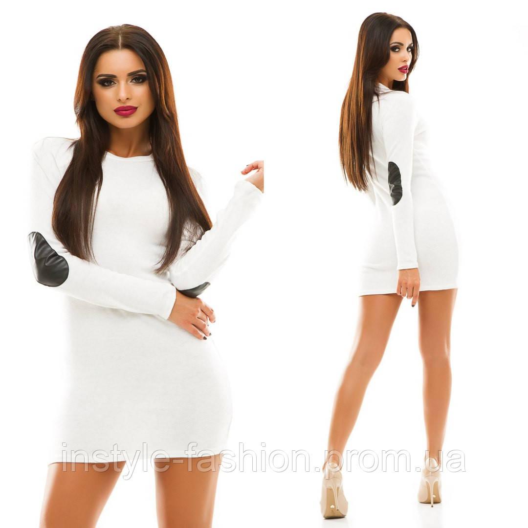 Женское короткое платье с ладками ткань ангора белое