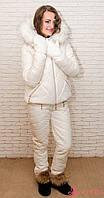 Женский зимний комплект Airos, брюки с высокой посадкой, искусственный мех