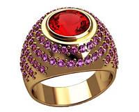 Выразительное золотое кольцо 585* пробы с крупным камнем и мелкими Фианитами
