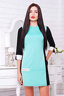 Трикотажное платье Соло  черный+мята+белый 42-50 размеры