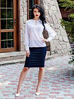 Модная офисная блуза из принтованного шифона в горошек вырез капелька