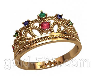 cb7430a014ca Женское золотое кольцо-корона 585  пробы с Фианитами, цена 2 845 грн ...