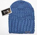 Теплая вязанная шапка  на флисе подросток, фото 8