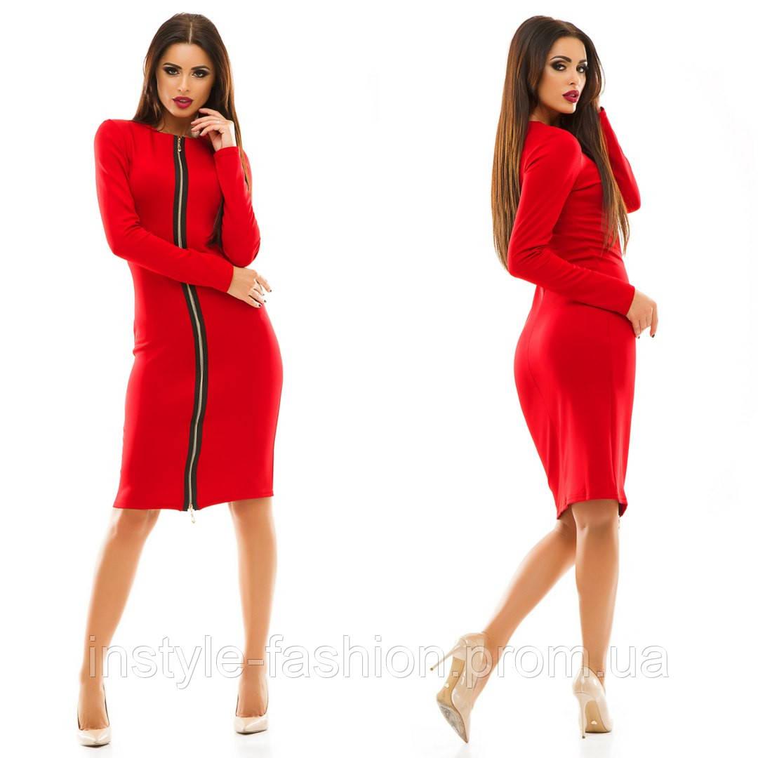 Женское платье на молнии ткань дайвинг цвет красный